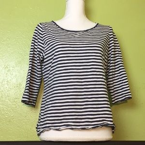 Stripped Boatneck 3/4 Sleeve Tee